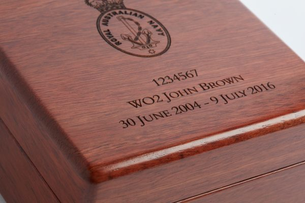 Personalised laser engraved, jarrah giftware, small medal box close up
