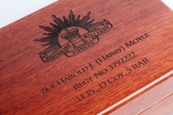 Personalised laser engraved, jarrah giftware, medium service medal box close up