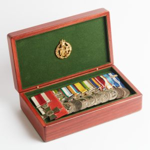 Personalised laser engraved, jarrah giftware, large service medal box