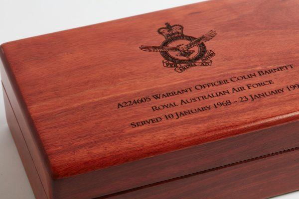 Personalised laser engraved, jarrah giftware, Service Medal box