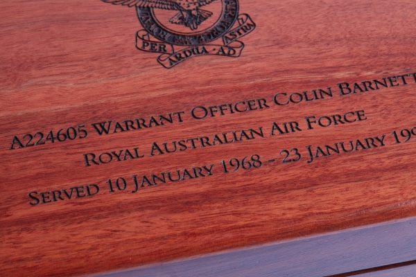 Personalised laser engraved, jarrah giftware, Engraving, RAAF