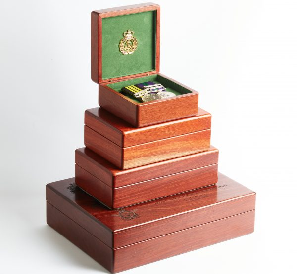 Personalised laser engraved, jarrah giftware, service medal boxes