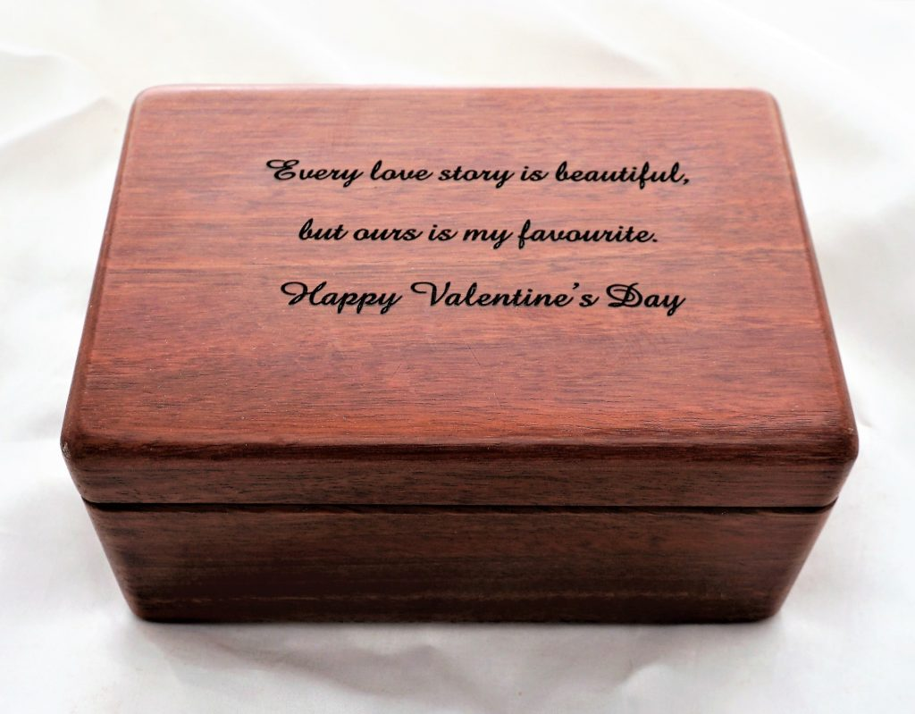 Personalised Wooden Box wedding anniversary, valentines day, work milestone gift or present.