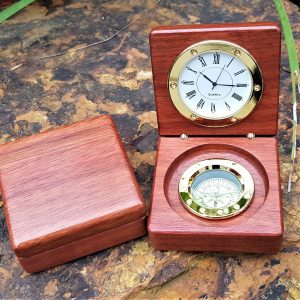 Personalised laser engraved, jarrah giftware, clock compass