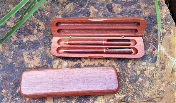 Personalised laser engraved, jarrah giftware, double pen or pencil set, pen box
