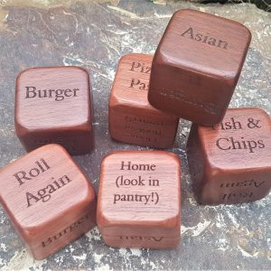 Personalised laser engraved, jarrah giftware, fun dice